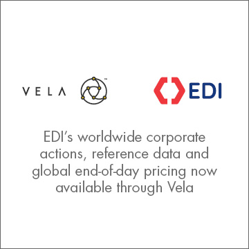 EDI's corporate actions, reference data & global end-of-day pricing available through Vela